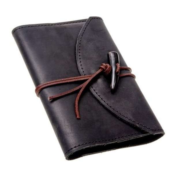 Notebook with leather cover, black, L