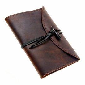 Anteckningsbok med läder täcka, brunt, L