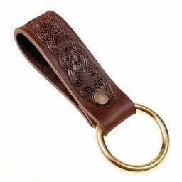 Keltische leren houder met ring, bruin
