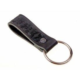 Celtic läderhållare med ring, svart