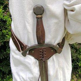 Medeltida svärd bälte, brun