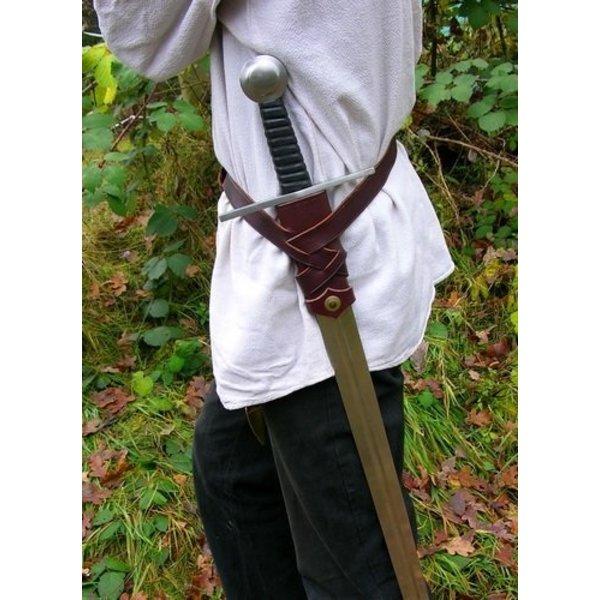 Luxueuse ceinture épée Viking, brun