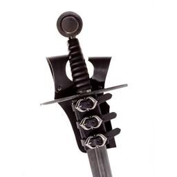 Mittelalterlicher Schwerthalterung für Gürtel, schwarz