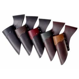 Läder hållare för LARP svärd, röd-svart