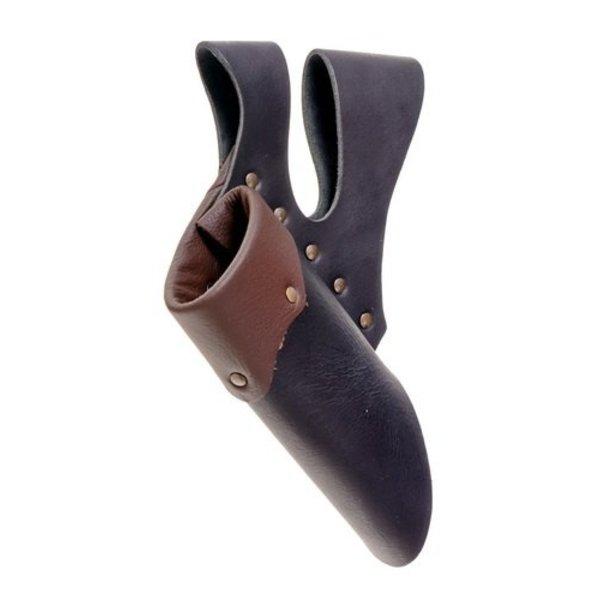 Läder hållare med dubbel slinga för LARP svärd, mörkbrun-svart