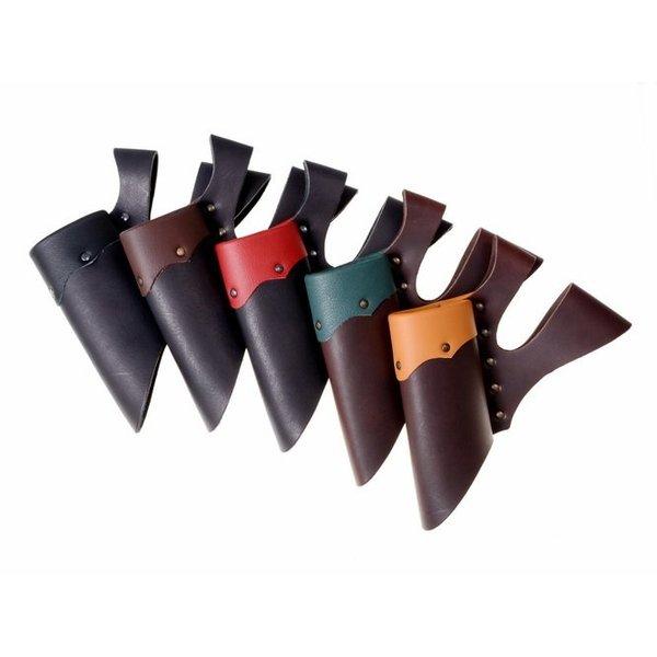 Support en cuir avec double boucle pour les épées de GN, brun clair brun