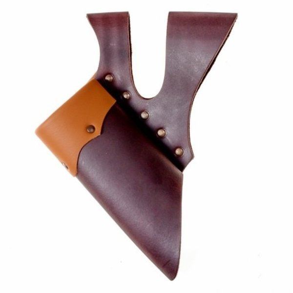 Leather holder with double loop for LARP swords, light brown-brown