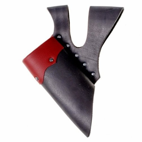Uchwyt skórzany z podwójną pętlą na miecze LARP, czerwono-czarny