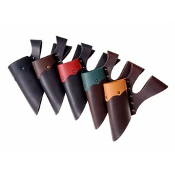Leather holder with double loop for LARP swords, green-brown