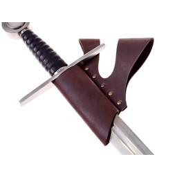 Rycerz uchwyt miecz z podwójnym szlufką, brązowy
