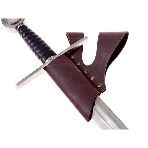 Knight svärd hållare med dubbla bältesögla, brun