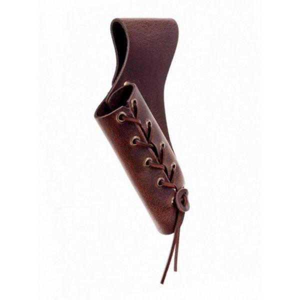 Læder sværd holder med snørebånd, brun