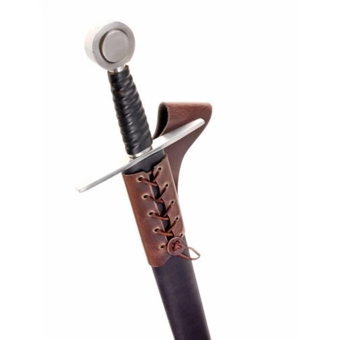 titular de la espada de cuero con cordones, marrón