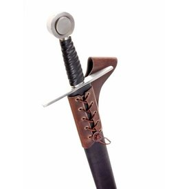 Leather sword holder with laces, brown