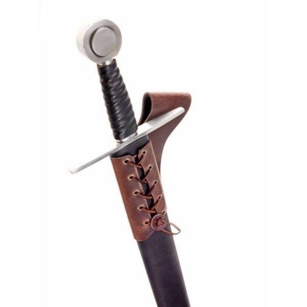 Skórzany uchwyt miecz z koronki, brązowy