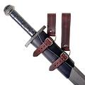 Porte-épée en cuir de luxe, noir-brun
