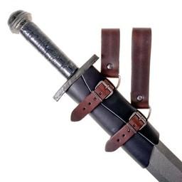 Luksusowy skórzany uchwyt miecz, czarno-brązowy