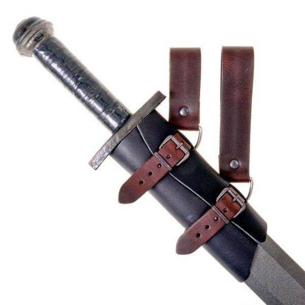 titular de la espada de cuero de lujo, de color marrón-negro