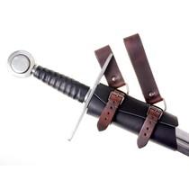 Luksusowy skórzany uchwyt miecz, brązowo-czarny