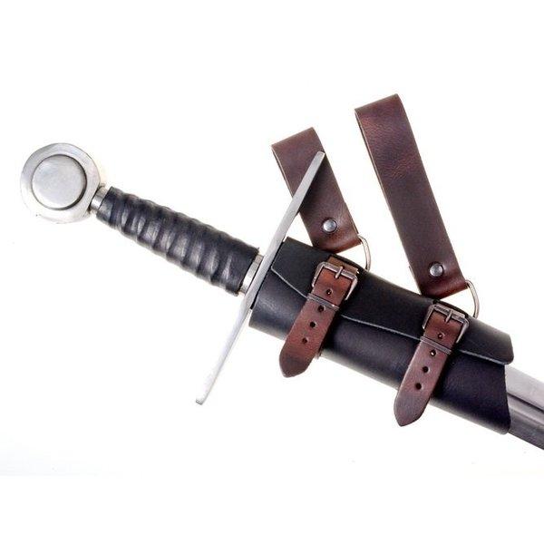 Lyxigt läder svärd hållare, brunsvart