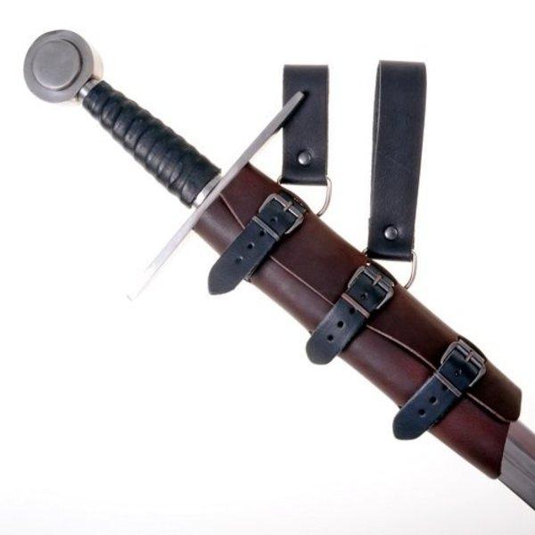 Luksusowy skórzany uchwyt miecz, brązowy, długi