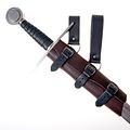 Luksuriøs læder sværd holder, sort-brun, lang