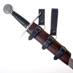 Luksusowy skórzany uchwyt miecz, brązowo-czarny, długi