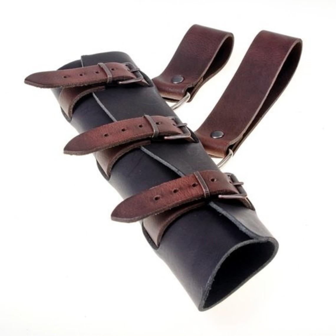 titular de la espada de cuero de lujo, de color marrón-negro, largo