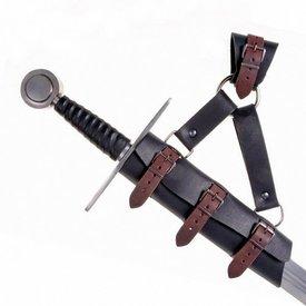 Lyxig svärd hållare för LARP svärd, svartbrun