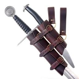 Luxurious sword & dagger holder, black-brown