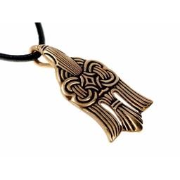 10 de vikingo del siglo colgante de cuervo, bronce