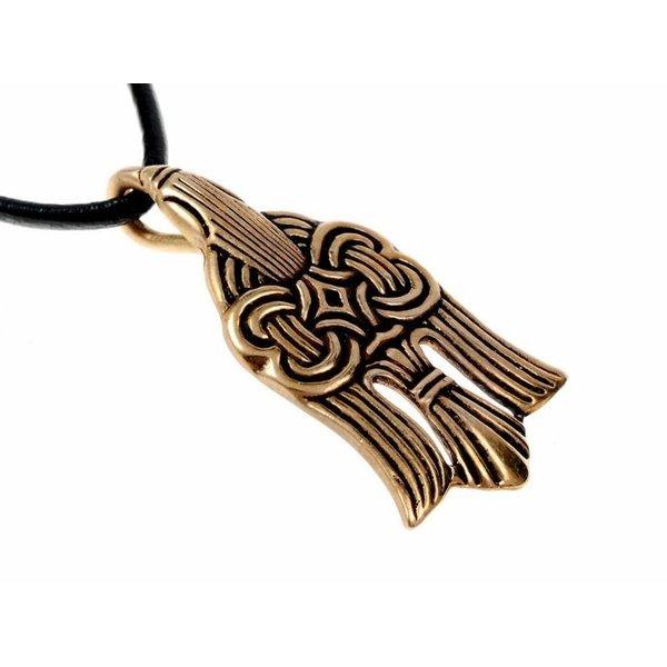 10 ° secolo vichingo ciondolo raven, bronzo