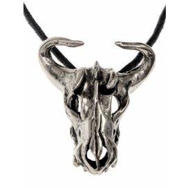 Bull cráneo joya latón plateado