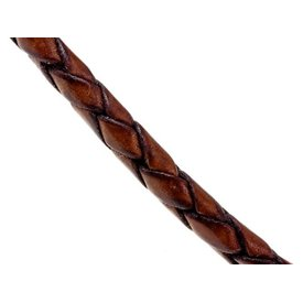 Braided leather cord brown 3 mm x 1 m
