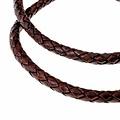 cordón de cuero trenzado marrón 4 mm x 1 m