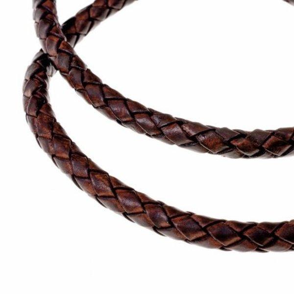 Flettet lædersnor brun 4 mm x 1 m
