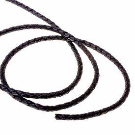 Gevlochten leren koord zwart 4 mm x 1 m