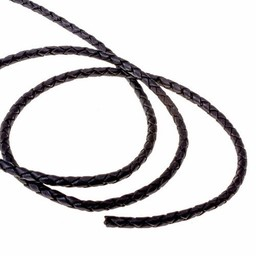 Braided leather cord black 5 mm x 1 m