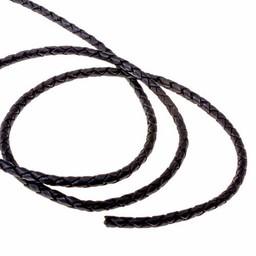 cordón de cuero negro trenzado 5 mm x 1 m