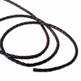 Braided leather cord black 5 mm x 1 m
