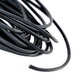 Runda läder spetsar svart 3 mm x 50 m