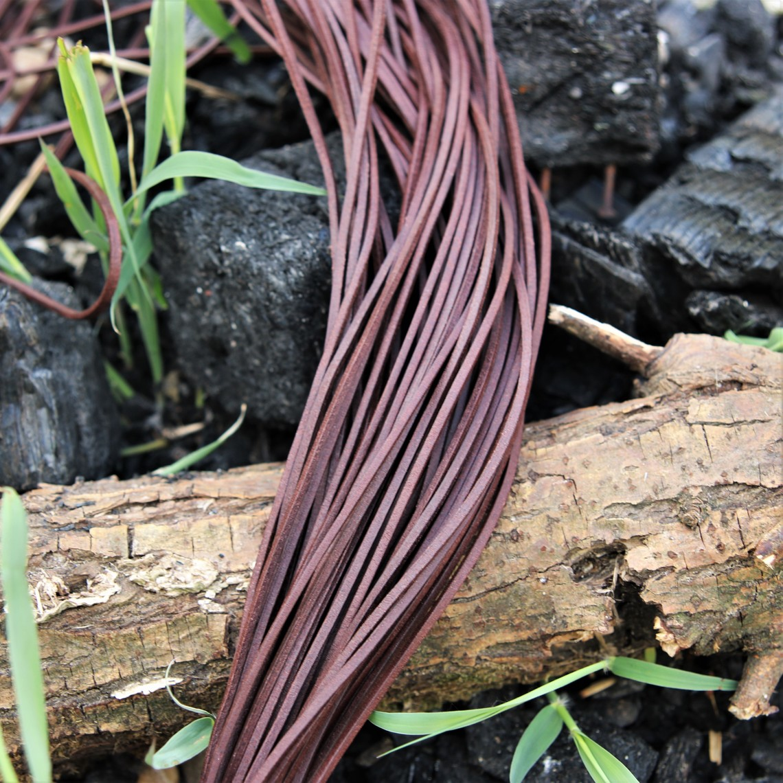 Leather lace, set of 10 brown