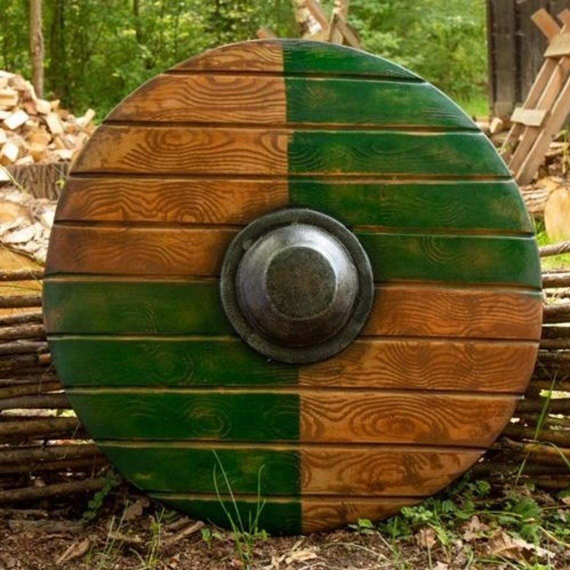 Epic Armoury bouclier rond GN, vert-bois 70 cm