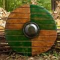 Epic Armoury LARP rondschild, groen-hout 70 cm