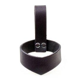 Læder drikkehorn holder 0,1-0,2 L, sort