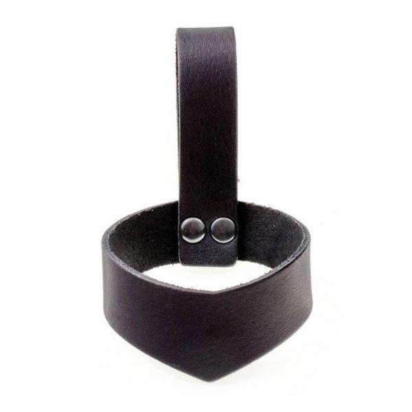 Læder drikkehorn holder 0,4 - 0,5L, sort