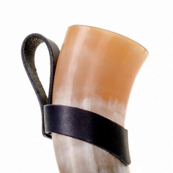 Porte corne à boire en cuir L et plus 0,7, noir