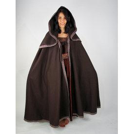Geborduurde mantel Lyra, bruin