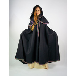 Gestickte Mantel Lyra, schwarz
