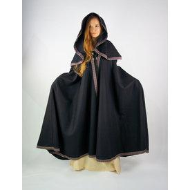 Haftowany płaszcz Lyra, czarny